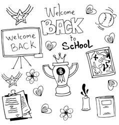 Doodle of black white school vector