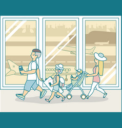 family travel by plane in flat vector image