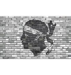 Flag of Corsica on a brick wall vector image