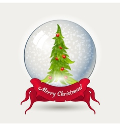 Glass ball with Christmas tree vector image