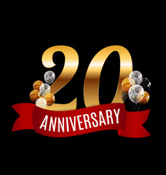 golden 20 years anniversary template with red vector image vector image