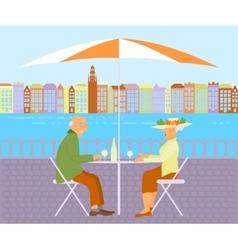 Grandparents in street cafe vector