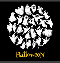 halloween ghost or holiday spirit round poster vector image vector image