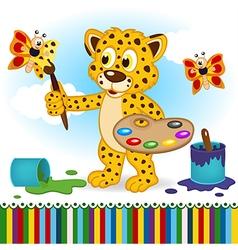 Leopard paints butterflies vector