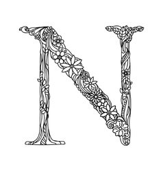 Letter N coloring book for adults vector image