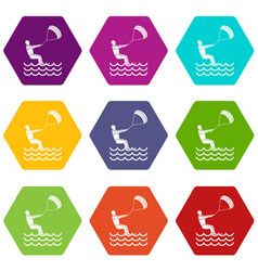 Man takes part at kitesurfing icon set color vector