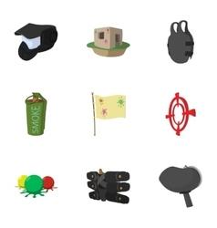 Paintball club icons set cartoon style vector