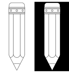 Pencil icon Black and white outline vector image vector image