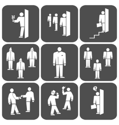 People icon set office meeting business symbol vector
