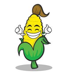 Proud sweet corn character cartoon vector