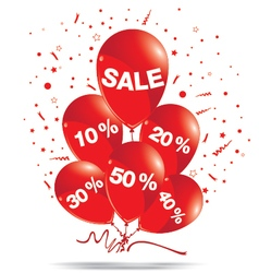 Red balloons with sale isolated on white vector image vector image