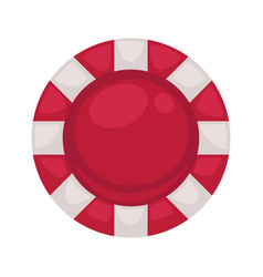 Red round poker chip with striped edge isolated vector