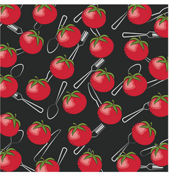seamless pattern fresh tomato fork spoon and knife vector image