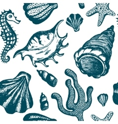 Seamless pattern with blue hand drawn seashells vector