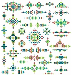 Set of bright geometric tribal design elements vector image vector image