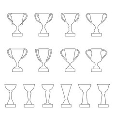 set of contours of award cups and trophies vector image vector image