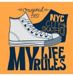 Sneakers graphic design for tee vector