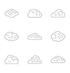 summer cloud icon set outline style vector image
