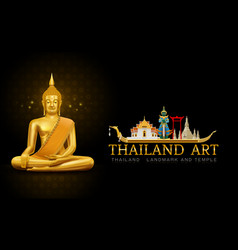 Thailand art buddha statue landmark and pattern vector