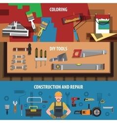 Tools Horizontal Banner Set vector image