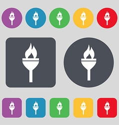 Torch icon sign A set of 12 colored buttons Flat vector image