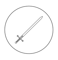 Two-handed sword icon outline single weapon icon vector