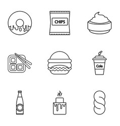Unhealthy food icons set outline style vector