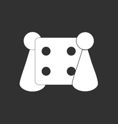 White icon on black background board game and dice vector