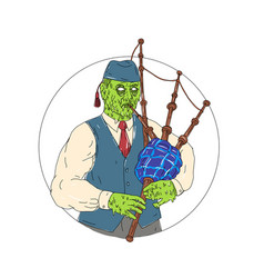Zombie piper playing bagpipes grime art vector