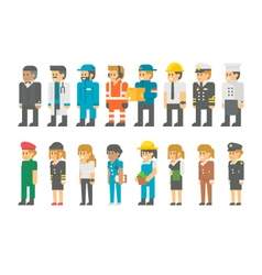 Flat design labor day people set vector