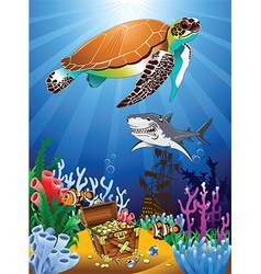 Cartoon sealife background vector
