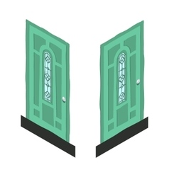 Cartoon isometric abstract green door icon vector