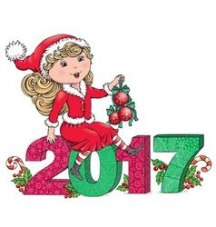 Santa Girl 2017 vector image
