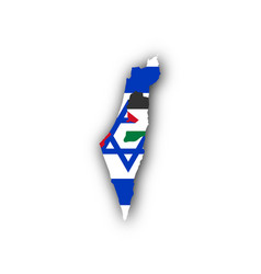 Map and flag of israel and palestine vector
