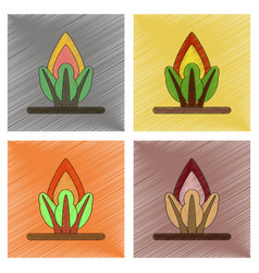 Assembly flat shading style icon fire in the vector