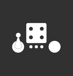 white icon on black background board game piece vector image