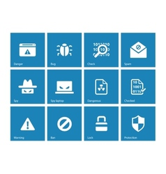 Security icons on blue background vector