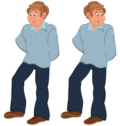 Happy cartoon man standing in blue pants vector