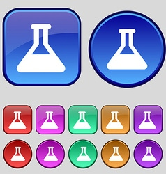 Conical flask icon sign a set of twelve vintage vector