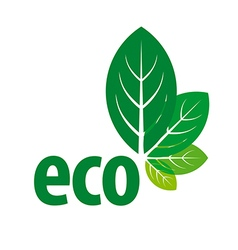 Eco logo in the form of green leaves vector