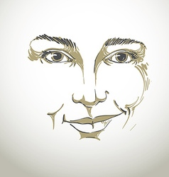 Drawing of distrustful woman face features black vector