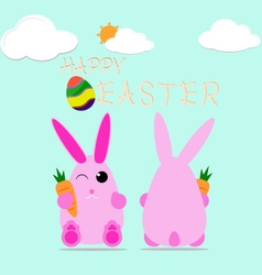 Happy easter bunny egg design celebrate card vector