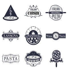 Retro italian cuisine restaurant labels logos and vector