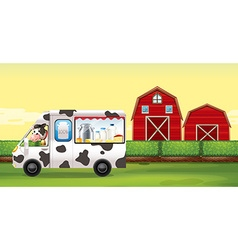Cow driving milk truck on the farm vector image