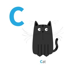 Letter c cat black english abc with animals zoo vector
