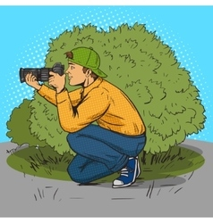 Paparazzi photographer pop art style vector