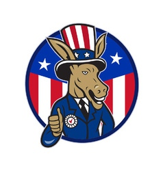 Democrat donkey mascot thumbs up flag vector
