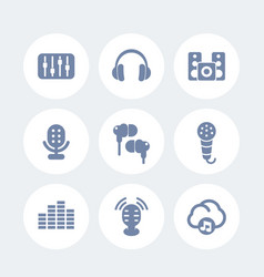 Audio icons set earbuds microphones speakers vector