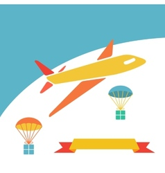 Cargo plane dropping boxes vector image vector image