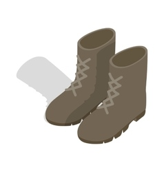 Combat military boots icon isometric 3d style vector